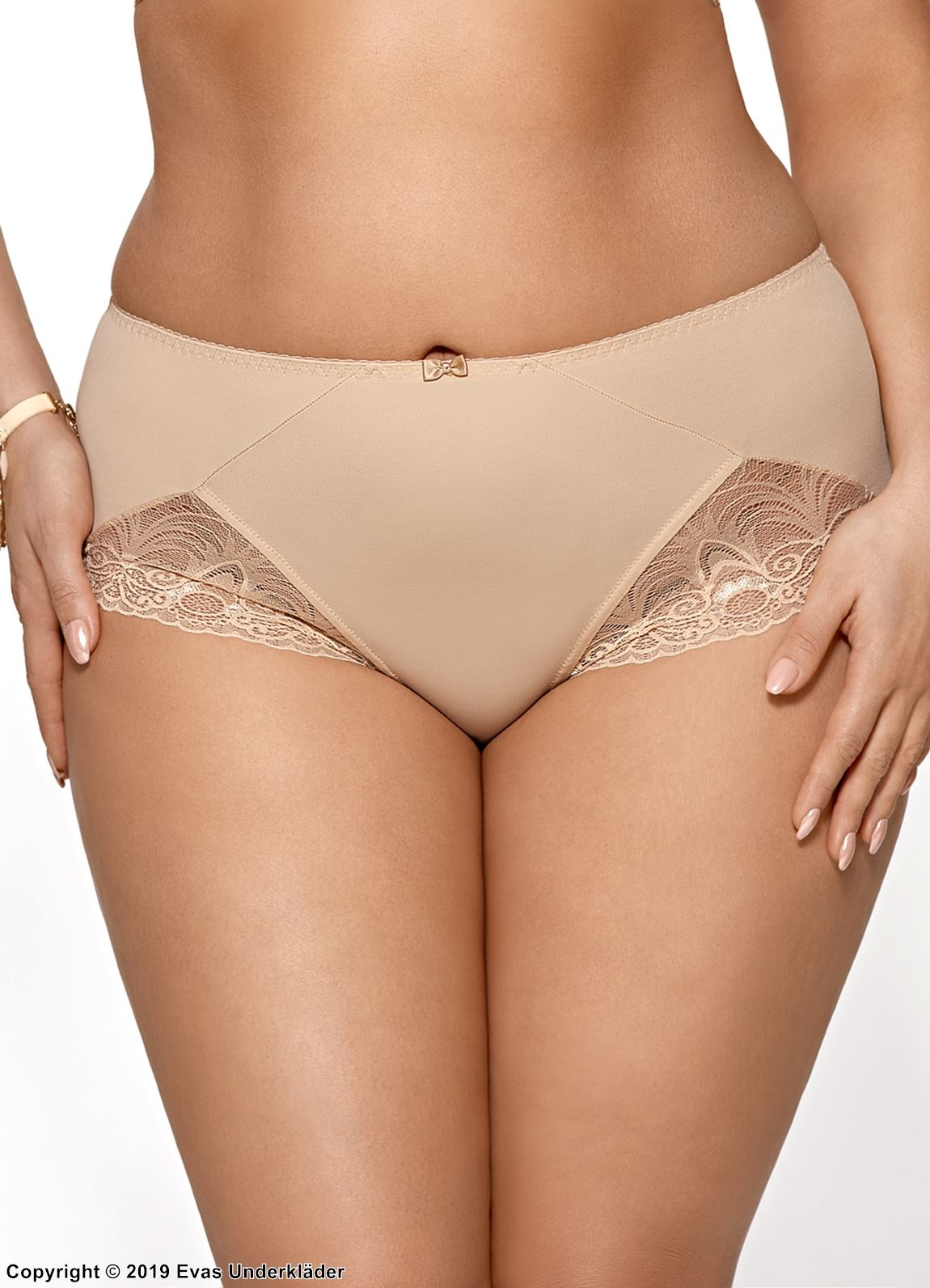 High waist panty, elastic microfiber, lace inlays, light pattern
